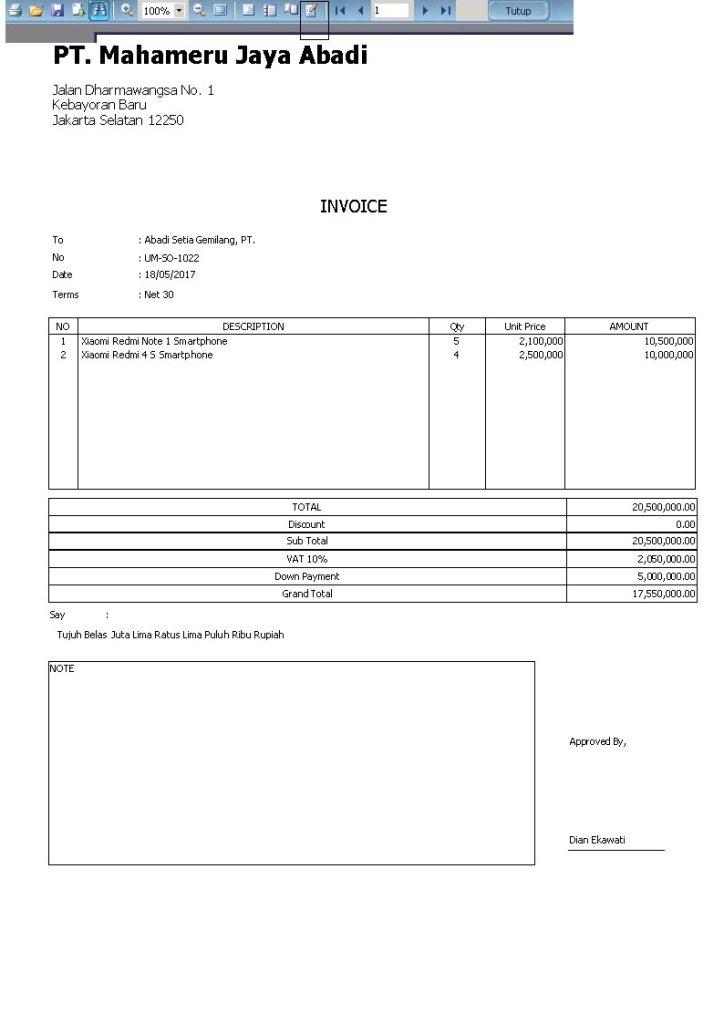 Menampilkan Sisa Invoice Setelah Uang Muka Down Payment Di