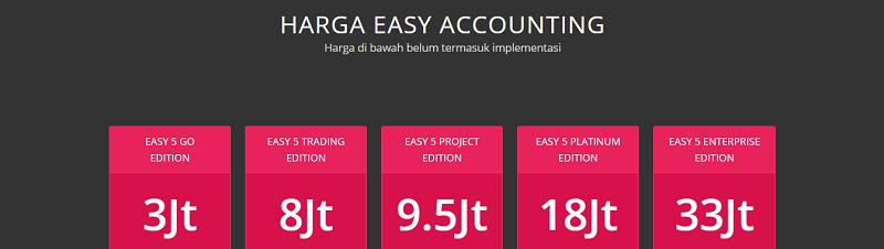 alasan ganti software akuntansi ke EASY 5 - varian produk & harga